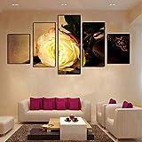 xzfddn Moderne Modulare Bild Leinwand Malerei Gold Rose Blume Wandkunstausgangsdekoration Raumdekor 5 Stücke