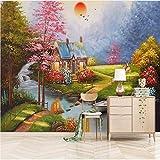 Fototapeten Europäischen Ölgemälde Schöne Landschaft Wandpapier Für 3 D Wohnzimmer Schlafzimmer Wanddekor 3D Wandbild Wandtuch,380X260Cm (149,61X102,36 In)