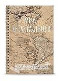 MEIN REISETAGEBUCH - Lass die Welt dich verändern DIY Reisebuch Tagebuch DIN A5 Ringbuch zum selberschreiben in HELLBRAUN im Retro Vintage Collage Antike Look • LINIERT für eine Weltreise/alle Länder