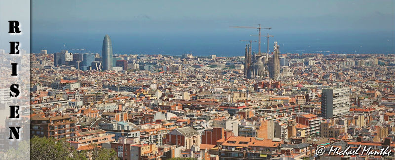 Panorama Blick auf Barcelona vom Park Güell aus
