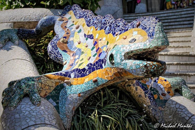 Barcelona Park Güell Salamander Fontäne