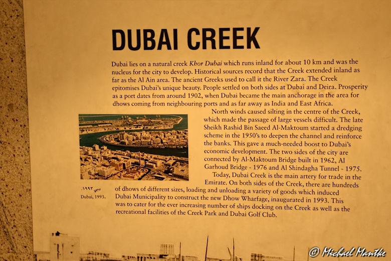 Dubai Museum Infotafel Creek