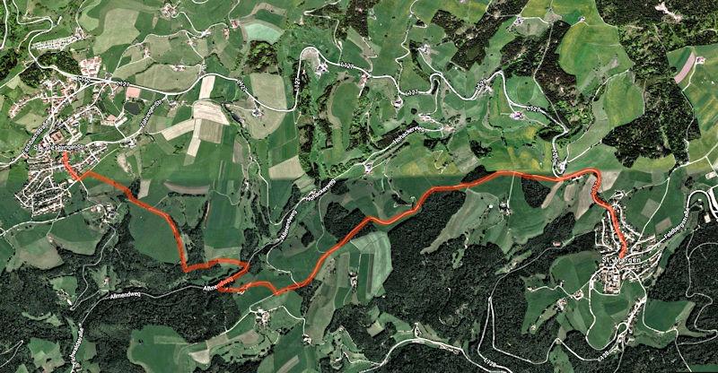 Wanderkarte St. Peter nach St. Märgen