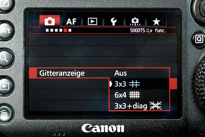 Gitter einblenden bei Canon EOS 7D Mark II