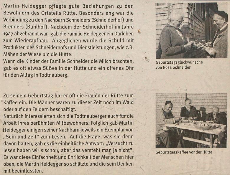Todtnauberg Martin Heidegger Infotafel