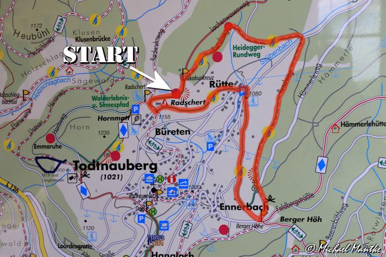 Martin Heidegger Rundwanderweg bei Todtnauberg - Karte