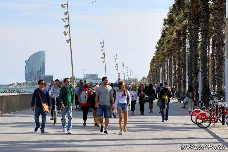 Barcelona Barceloneta Strand Promenade