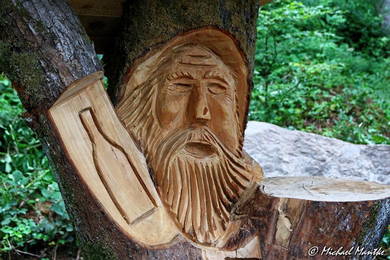 Hahn-und-Henne-Runde Holz Skulptur