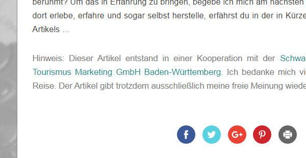 Kennzeichnung von Werbung auf einem Blog Disclaimer