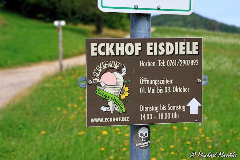 Eckhof Eisdiele Wegweiser