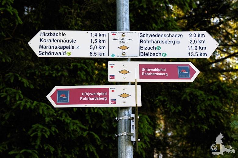 Uhrwaldpfad Rohrhardsberg Wegweiser
