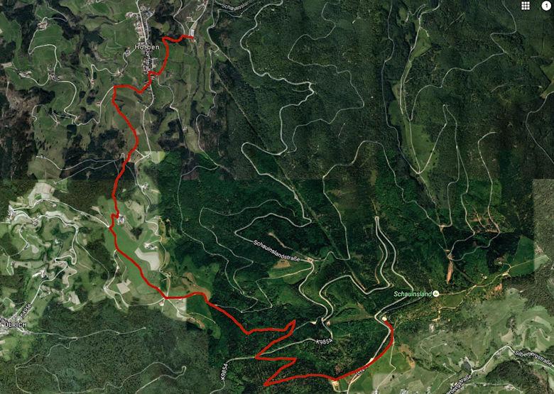 Wanderkarte Übersicht Vom Schauinsland nach Horben zur Talstation wandern