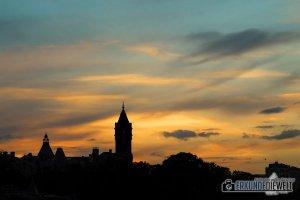 Silhouette der Stadt am Abend, Luxemburg Stadt, Luxemburg