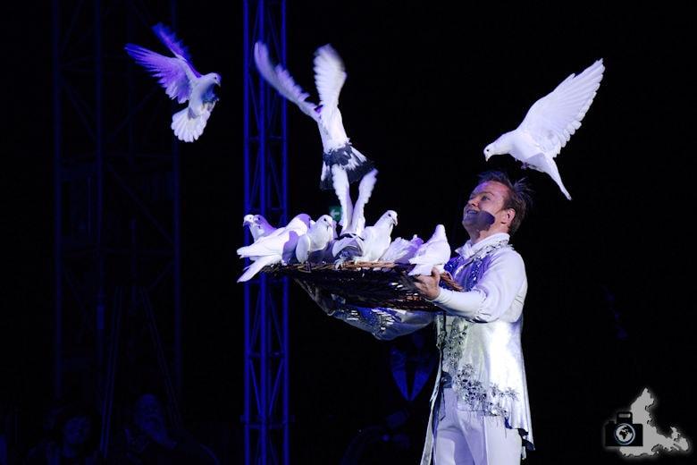 Fotografie-Tipps: Fotografieren im Zirkus - Andrejs Fjodorov mit seinen Tauben