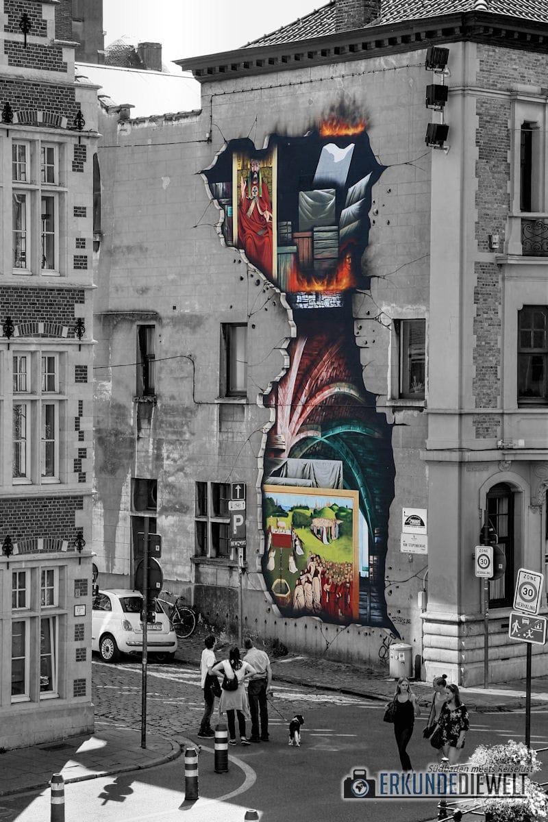 Street Art an Hausfassade zeigt Brand, Gent, Brüssel