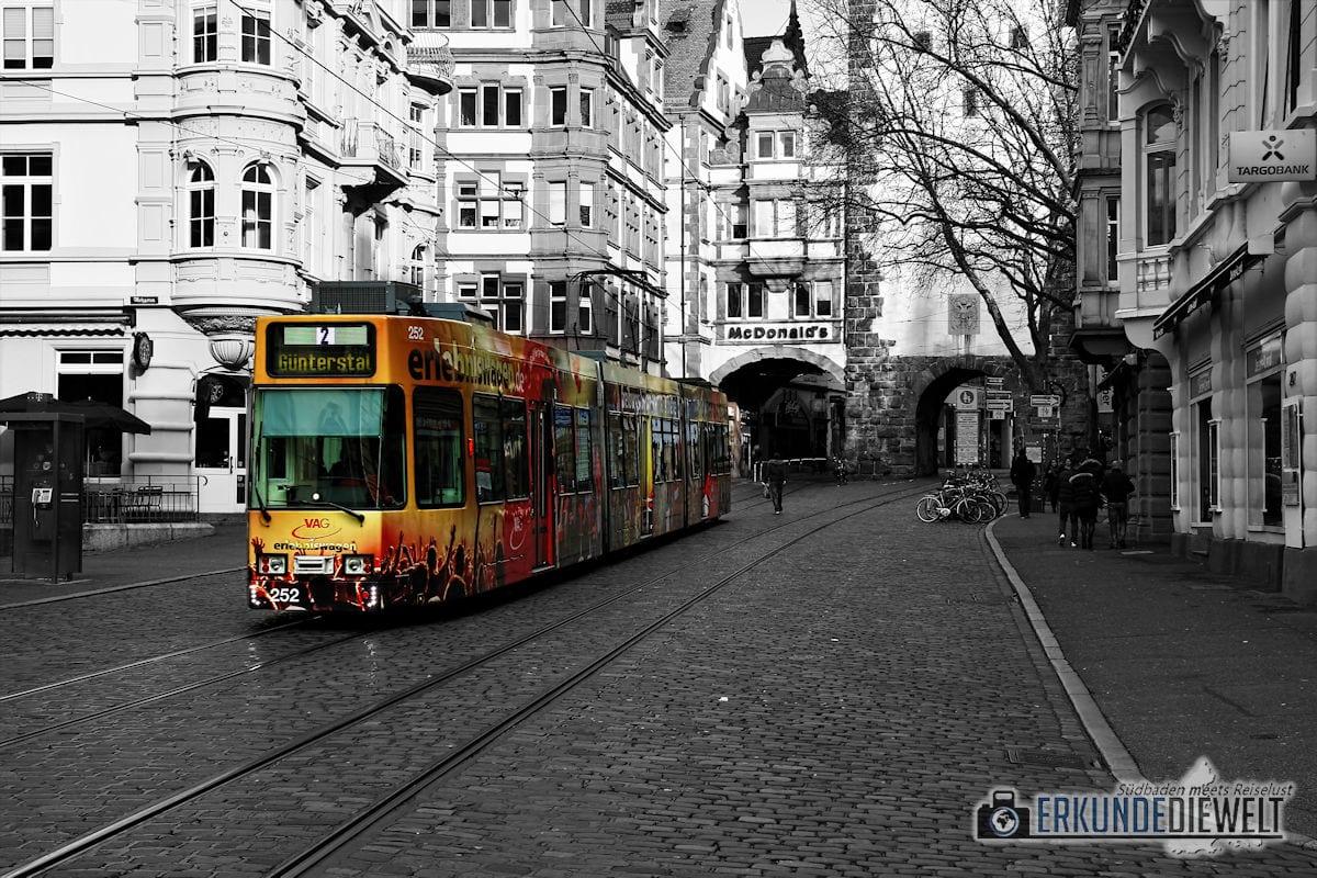 Color-Key Bild - Straßenbahn Freiburg