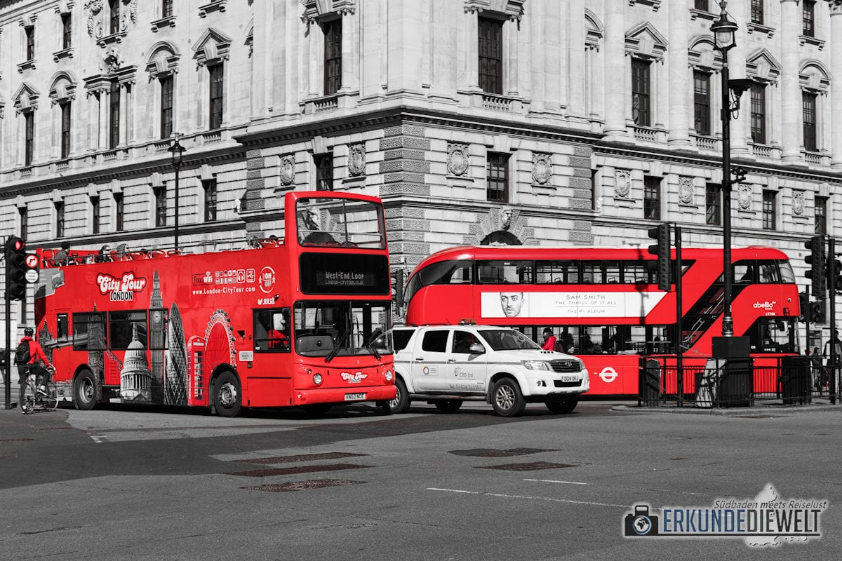Color-Key Bild - Rote Doppeldecker Busse in London