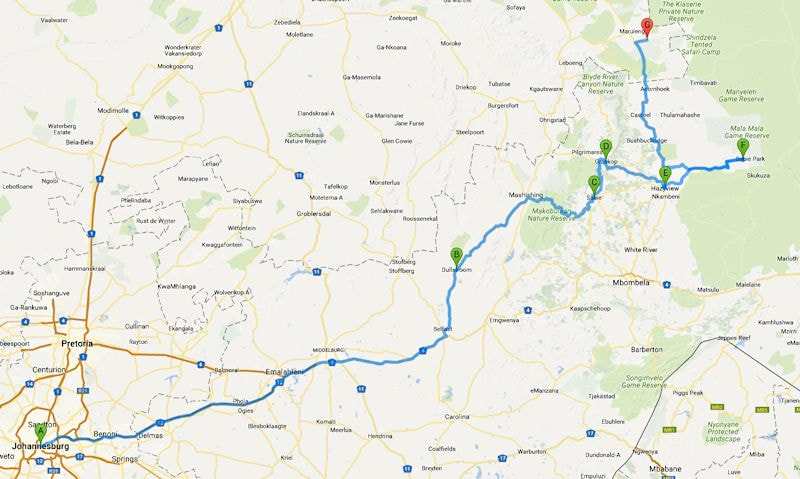 Route Südafrika Etappe 1