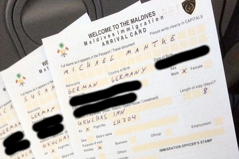 Einreise Formular Malediven