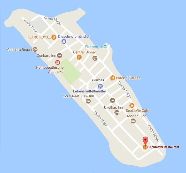 Übersicht Restaurants auf Ukulhas