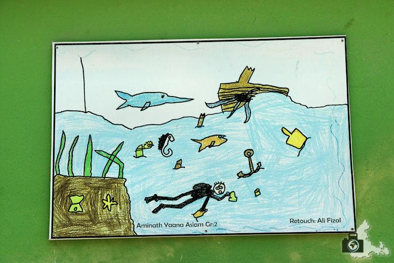 Zeichnung zum Umweltschutz der Meere auf den Malediven