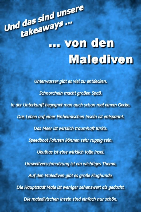 Takeaways Malediven