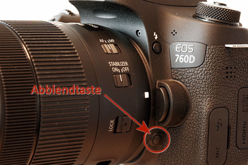 Abblendtaste an der Canon EOS 760D