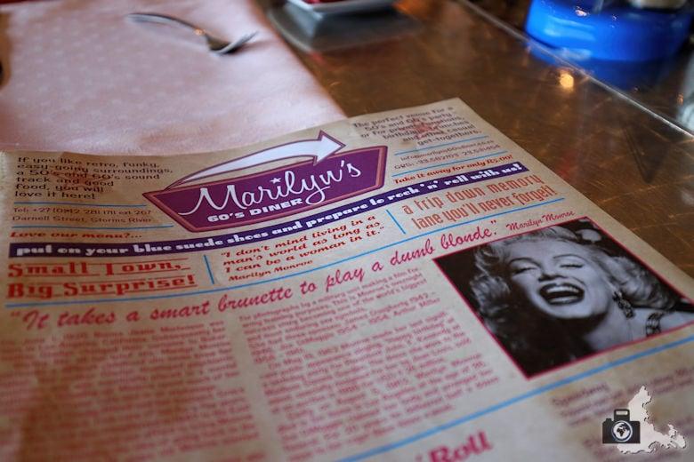 Speisekarte, Marilyn's 60's Diner, Storms River, Tsitsikamma
