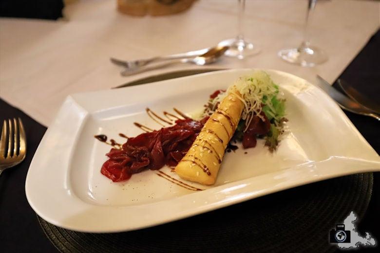 Vorzügliches Dinner in der Kuzuko Lodge