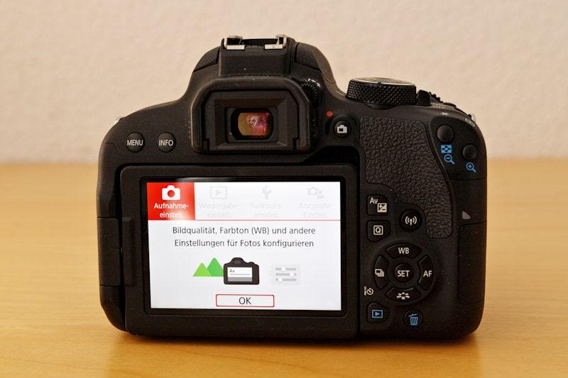 Canon EOS 800D - Einsteiger Menü