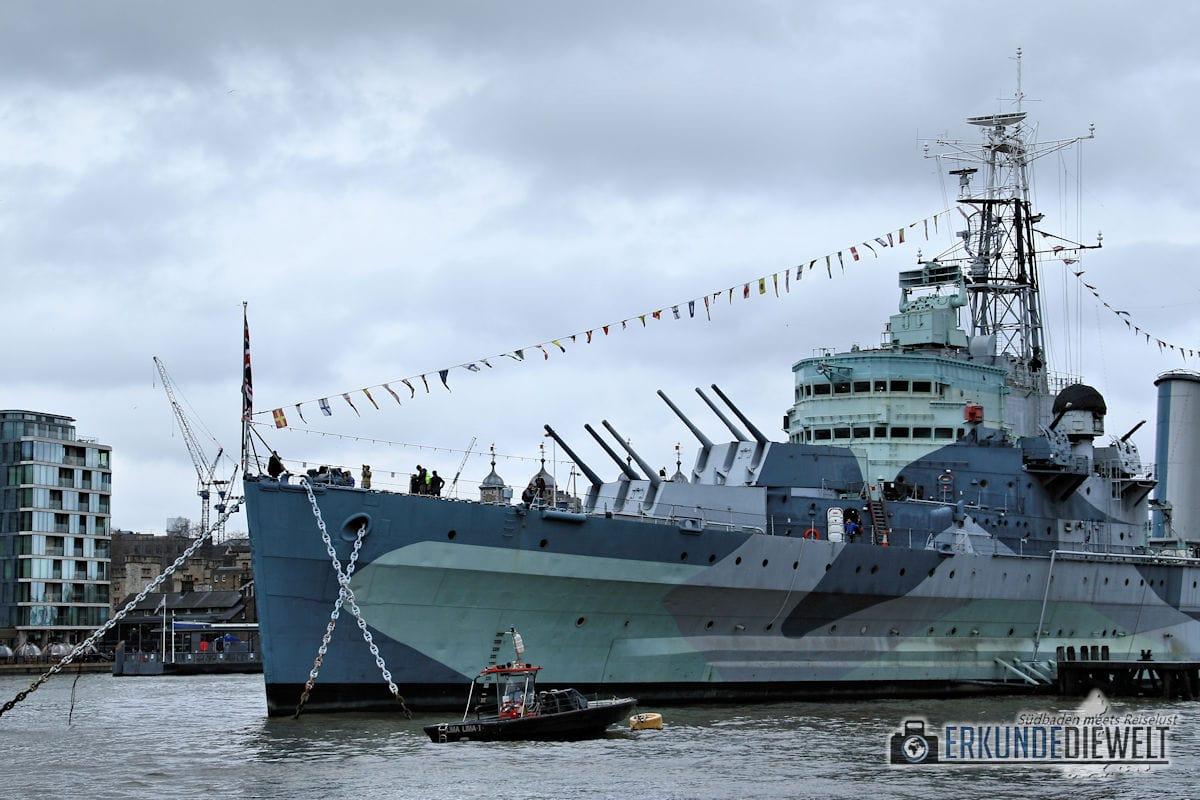 Kriegsschiff Belfast. London, Großbritannien