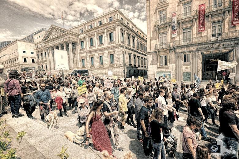 Innenstadt Madrid - Demo gegen Stierkampf