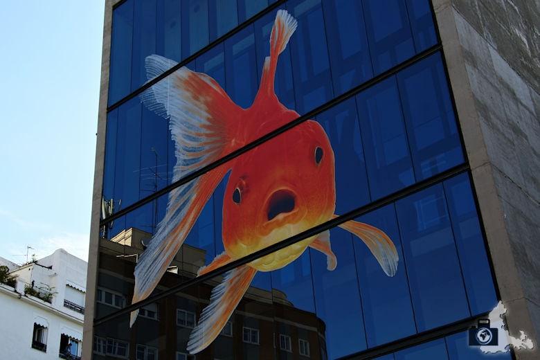 Madrid - Goldfisch am Hochhaus