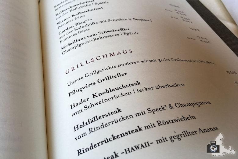 Pflugwirts Gasthaus mit Hotel - Speisekarte