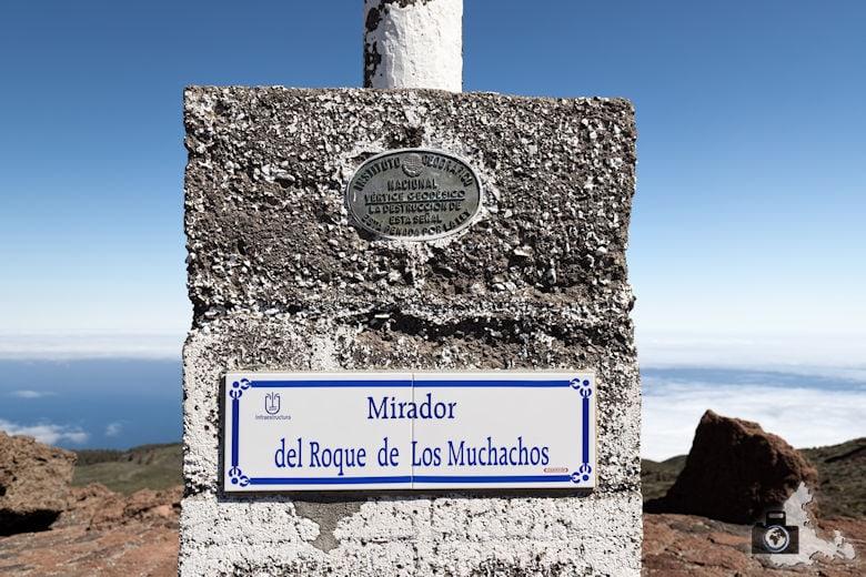 La Palma, Mirador del Roque de los Muchachos, Hinweisschild