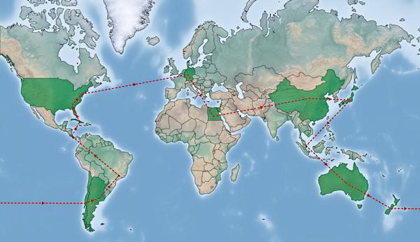 Route um die Welt - die schönsten Weltreise Ziele - Karte