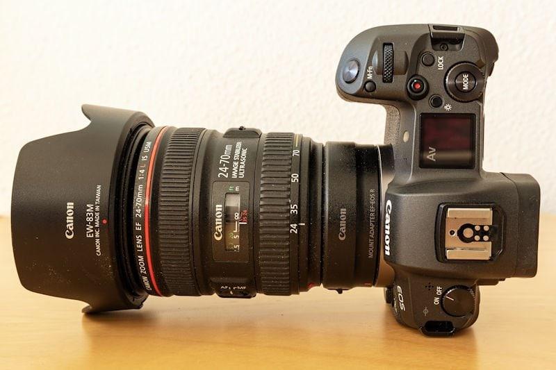 Canon EOS R Testbericht - EF-Objektiv mit Adapter