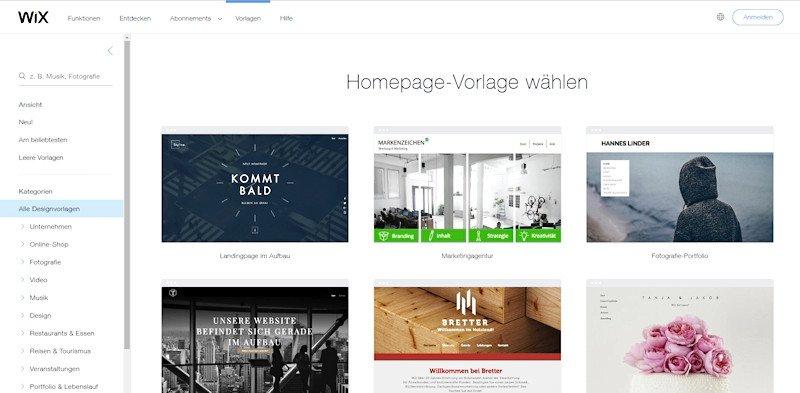 Website erstellen mit Wix.com