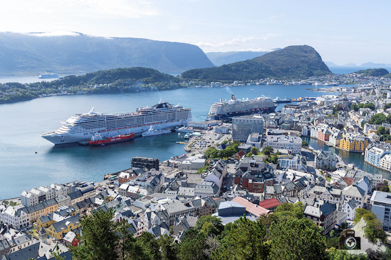 Aussicht vom Hausberg Aksla, Alesund, Norwegen