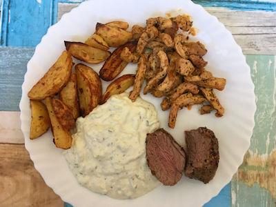 Rezept - Griechisch - Lammfilet, Gyros, Tzatziki, Kartoffelspalten